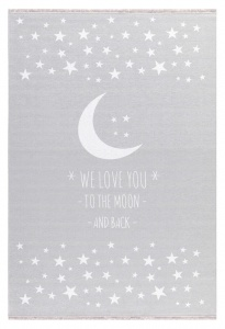 KIDS LOVE RUGS Dywan  LOVE YOU MOON - SZARY 140X190