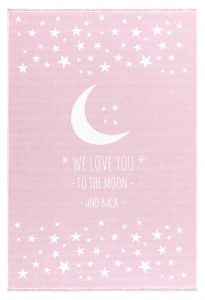 KIDS LOVE RUGS Dywan  LOVE YOU MOON - RÓŻOWY 130X160
