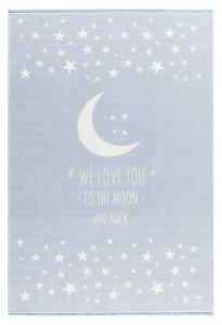 KIDS LOVE RUGS Dywan  LOVE YOU MOON - NIEBIESKI 100X160